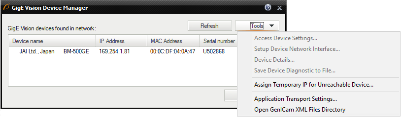 GigE Vision® Device Manager